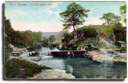 An old postcard showing the site of the castle